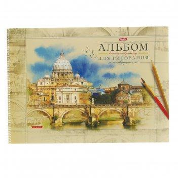 Альбом для рисования а3, 40 листов на гребне прогулки по европе, жесткая п