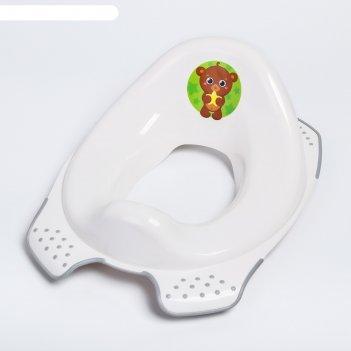 Накладка на унитаз детская мишка, цвет белый