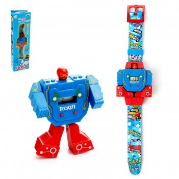 Робот-трансформер робо-часы, работает от батареек, цвета микс