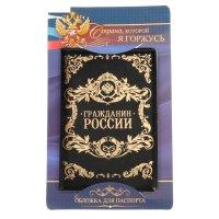 Обложка для паспорта иск. кожа гражданин россии чёрная