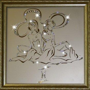 Картина сваровски - картина близнецы 35х35 см