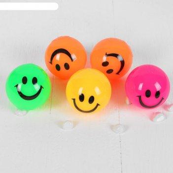 Мяч световой смайлик пикалка, цвета микс