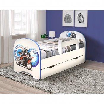 Кровать детская с фотопечатью «байк», 1400 x 700 мм, с 1-м ящиком и бортик