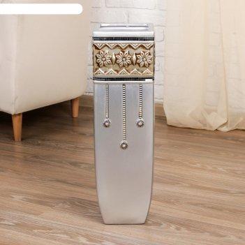 Ваза керамика напольная версаль 60 см прямая серебро