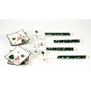 Набор для суши на 4 персоны: 4 соусницы, 4 набора палочек с подставками