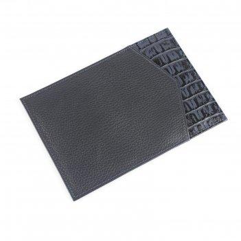 Обложка для паспорта с подкладом, синий кл/синий флотер