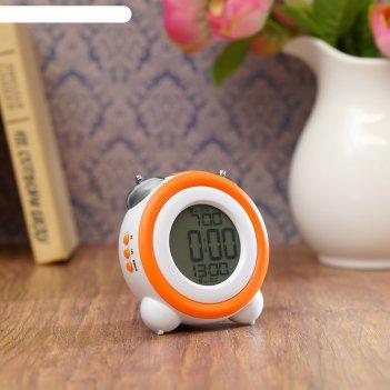 Электронные часы-будильник, подсветка, 2 будильника, дата, бат 3aаа, оранж