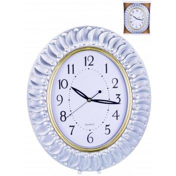 Часы настенные овальные home art «серебряные перья» 43,2x37,7 см
