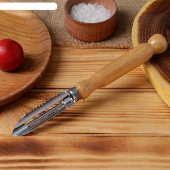 Овощечистка с деревянной ручкой, нержавеющая сталь