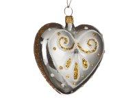 Ёлочное украшение сердечко мотив высота=6,5 см. ...