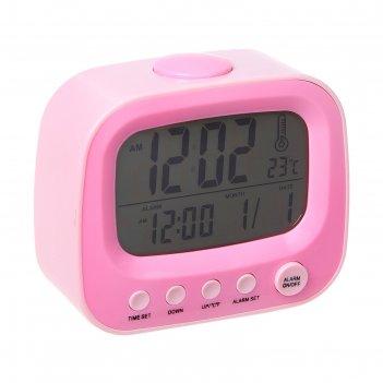 Часы-будильник телевизор, розовый