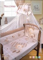 Комплект в кроватку мишутка(120х60) 7 предметов: бампер, балдахин,одеяло,