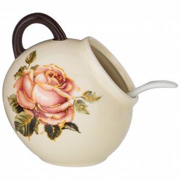 Солонка с ложкой корейская роза 9,5*9,5 см. высота=10 см. / 170 мл. (кор=4