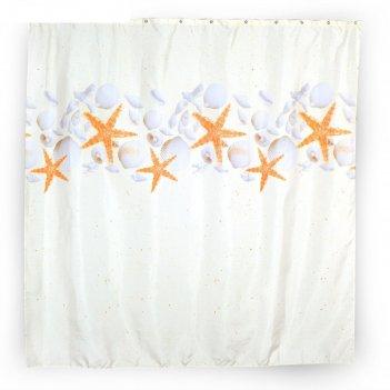 Штора для ванной комнаты тканевая 180x180 см stars, кольца в комплекте