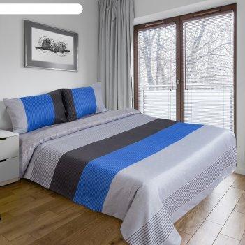 Постельное бельё этель дуэт «стиль» цвет голубой 150x210 см-2 шт, 220x240с
