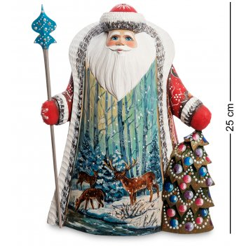 Рд-28 фигурка дед мороз с елкой (резной) 25см