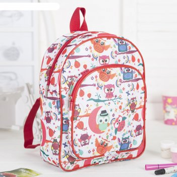 4807 п-210/д рюкзак детский, 24*12*30см, отд на молнии, н/карман, белый/со