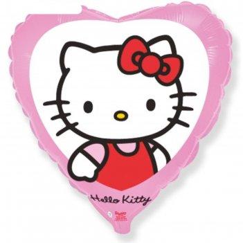 Шар фольгированный 18 сердце hello kitty. котенок с бантиком розовый, 1шт.