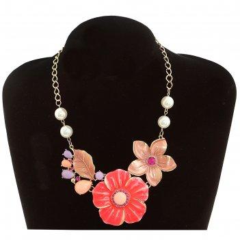 Колье весенние цветы, флористика, цвет сиренево-розовый в золоте