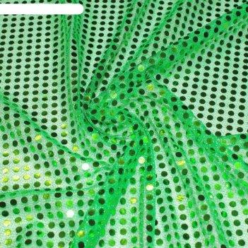 Трикотаж плательный, пайетки, ширина 110 см, зелёный