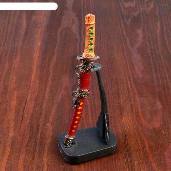 Нож танто сувенирный на подставке, кожа, коричневые ножны, ромбики