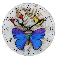 Часы настенные из стекла бабочки-красавицы
