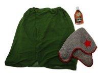 Набор для бани будённовец шапка, килт зеленый, ароматизатор