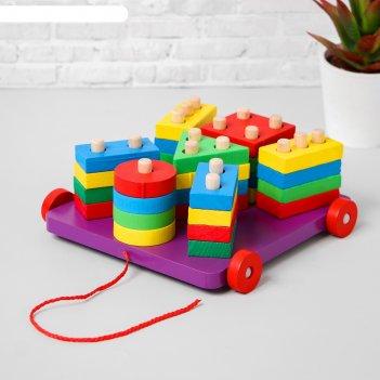 Деревянная игрушка пирамидка логическая - каталка 8х18,5х19 см