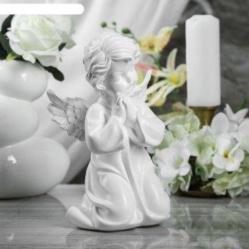 Статуэтка ангел молящийся в платье белая, 25 см