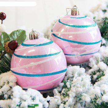 Новогодние шары орион (набор 6 шт.), розовые