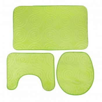 Набор ковриков для ванной и туалета завитки 3 шт, цвет зеленый