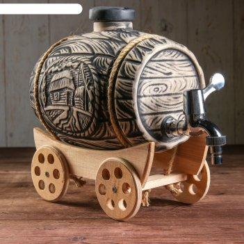 Бочка для вина телега на колесах 4 л шамот серый