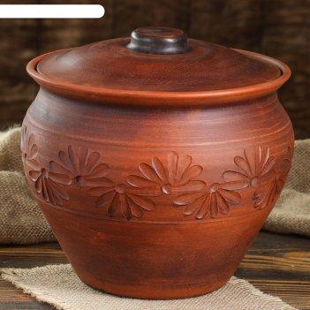 Горшок духовой 3,5 л красной глины