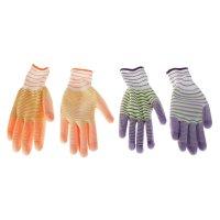 Перчатки садовые цветная полоса, р. 9, цвета микс