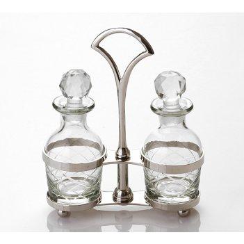 Набор для специй 2 пр.на подставке стекло-латунь высота=18 см.