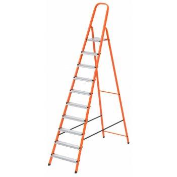 Стремянка, 10 ступеней, стальной профиль, ступени сталь, оранжевая, россия