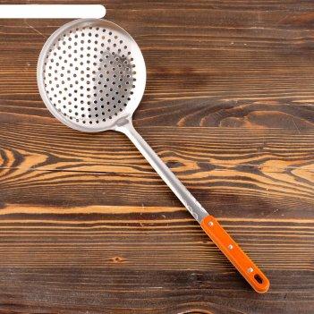 Шумовка для казана 48см, диаметр 17см, с деревянной ручкой
