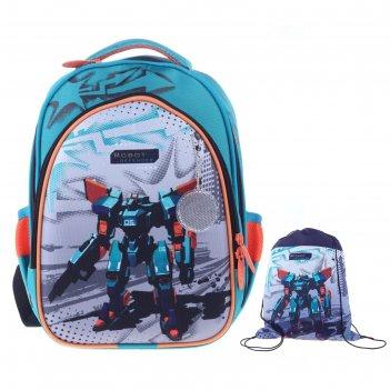 Рюкзак каркасный luris джерри 2 38x28x18 см + мешок для обуви, для мальчик