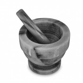 Ступка с пестиком, размер: 13 х 11,5 см, материал: мрамор, цвет: серый, се