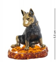 Am-1952 фигурка собака бультерьер (латунь, янтарь)