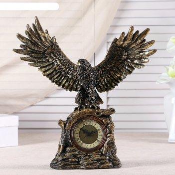 Часы настольные орел расправил крылья,  цвет золотой, h=35 см