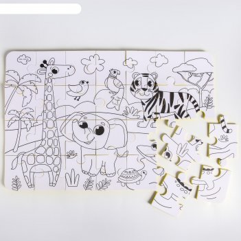 Развивающий коврик - пазл, раскраска африка50х33 см