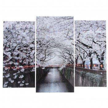 Модульная картина цветущие деревья  (2-25х52; 1-30х60) 60х80 см
