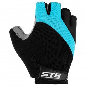 Перчатки велосипедные stg, размер s, цвет черно-бирюзовые