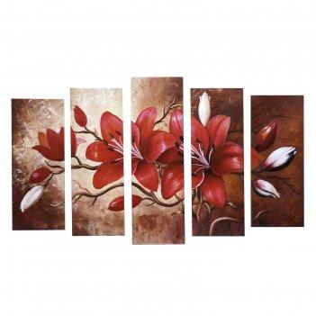 Картина модульная на подрамнике красные цветы 125х80 см (2-25х63, 2-25х70,