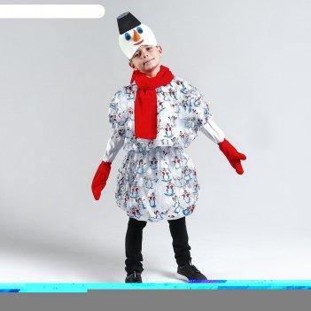 Карнавальный костюмснеговик в варежкахкуртка с рукавами,маска,шарф,р-р34,р