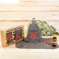 Набор банный русская банька шапка с вышивкой, коврик с вышивкой, ароматиза