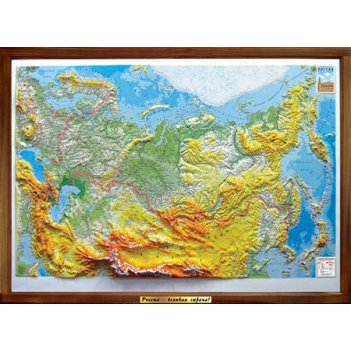 Объемная карта россии 1200 х 880 мм, деревянная рама