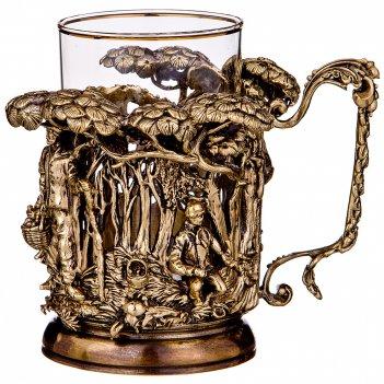 Подстаканник грибник латунь,жаропрочное стекло с позолоченной каемкой