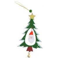 Подвеска новогодняя сказочная ель резная с бубенцом